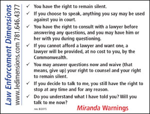 miranda warning Miranda warnings may deter suspects from answering questions, (71) and, to justice rehnquist, this risk was unacceptable in cases where law enforcement officers need to ask questions to get information to protect the public.