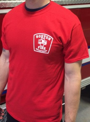 Boston Fire Department Station Tee Shirt Red