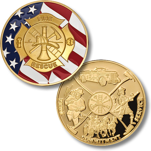 Firefighter Maltese Cross with Flag Coin