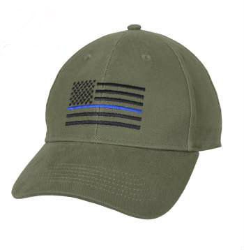 Thin Blue Line Flag Olive Drab Cap