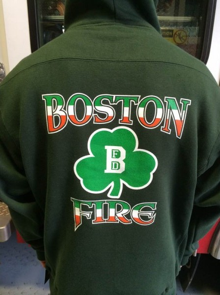 Boston Fire Department Irish Shamrock Green Hooded Sweatshirt