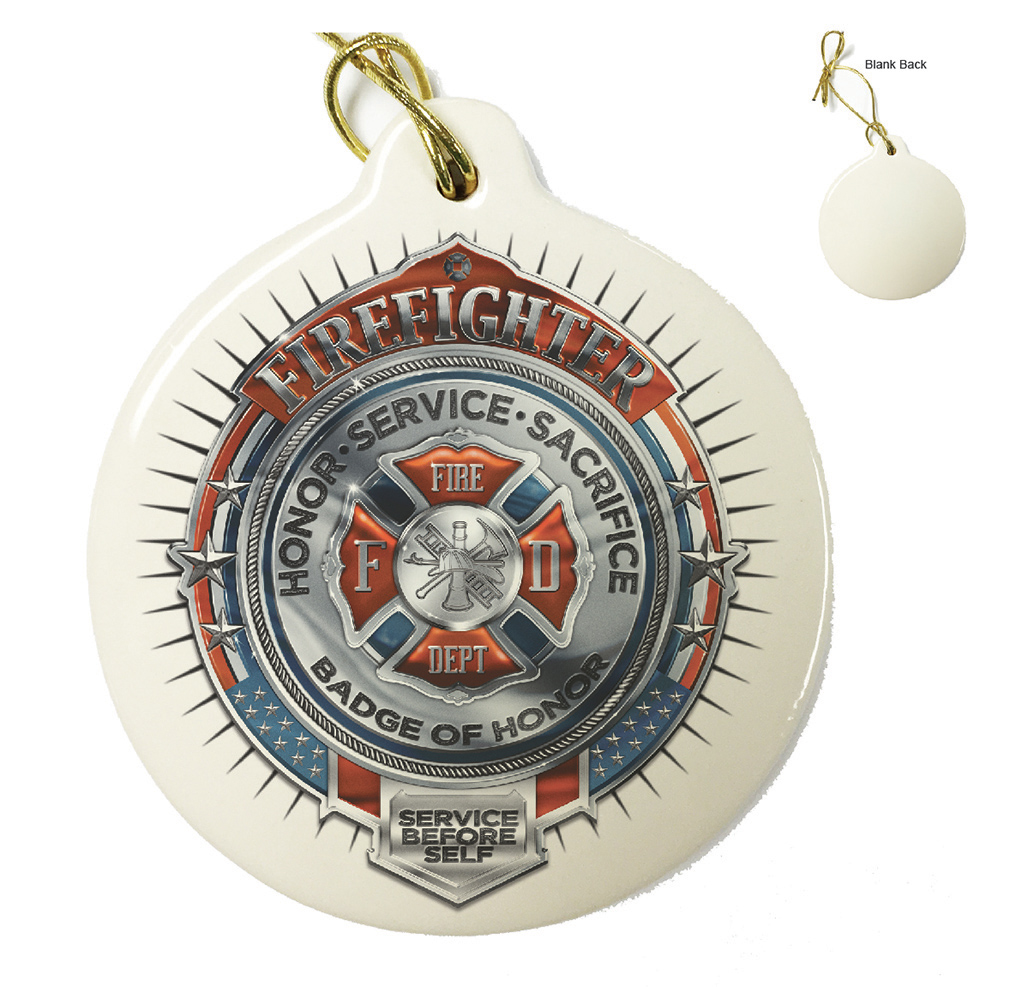 firefighter badge of honor ornament