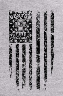 Boston Fire Department Distressed Flag Long-Sleeve Hoodie Tee
