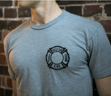Boston Fire Department Distressed Flag Short Sleeve Tee