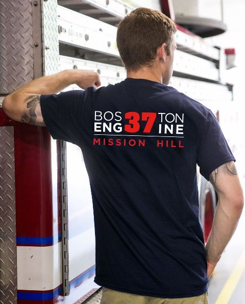Boston Fire Engine 37 T-Shirt Back
