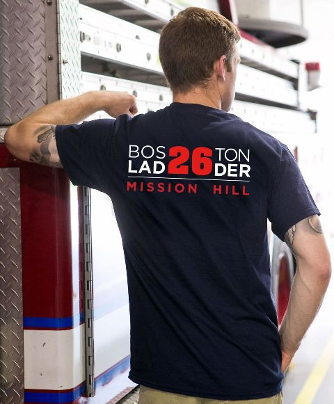 Boston Fire Ladder 26 T-Shirt Back