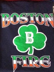 Boston Fire Department Irish Shamrock Tee Shirt Navy Blue