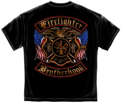 Firefighter Double Flag Tee Shirt Back