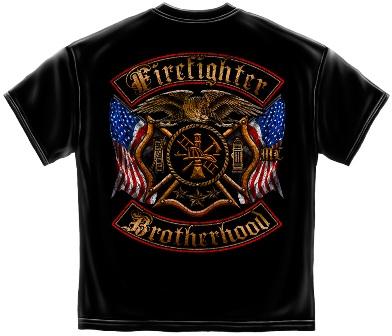 Firefighter Double Flag Tee Shirt Back