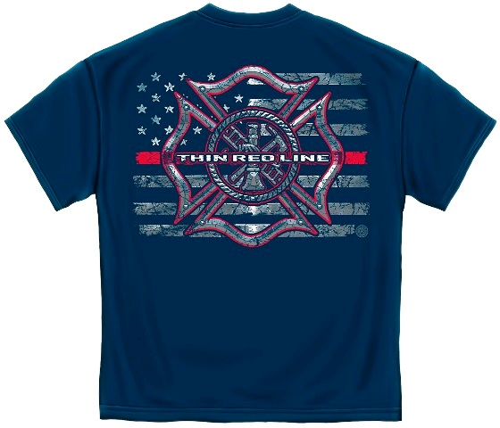 Firefighter Thin Red Line Cross Tee