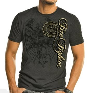 Elite Breed Gray And Gold Firefighter Tee Shirt